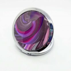 Compact mirror with swirly purple ,pink silver and black decoration