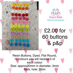 60 Mixed Colour 23mm Buttons