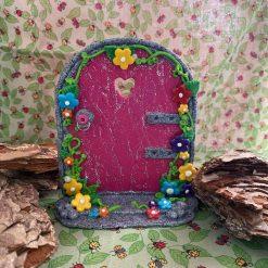Pink Silver Glitter Fairy Door