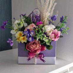 Handmade Mixed Flower Purple Envelope Box