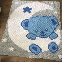 "Baby boy ""teddy on moon"" blanket"