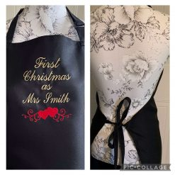 Personalised Embroidered First Christmas Married Aprons