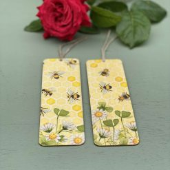 Bumble bee and garden book mark. Wooden bee honeycomb book mark. Book accessory