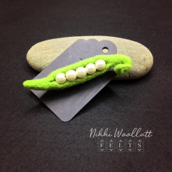 Pearly Pea Pod Needle Felted Brooch