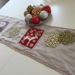 """Christmas Table Runner, Sparkly material featuring Christmas Squares 58"""" long."""