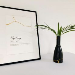 Kintsugi definition print with hand painted gold lines
