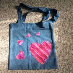 Denim Shopping Bag-Tote Bag-Heart applique- Kaffe Fassett fabric