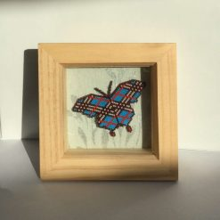 Beaded Blue 'Burberry' Butterfly Picture
