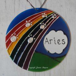 Hand painted pet memorial Rainbow Bridge sun catcher decoration
