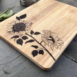 Sunflower, Chopping Board, Serving Board, Wood Chopping Board, U.K. Postage Included