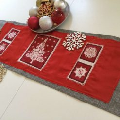 """Christmas Table Runner, Sparkly material featuring Christmas Squares 42"""" long."""