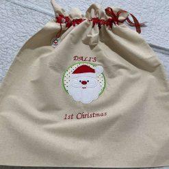 Handmade Santa appliqué sack