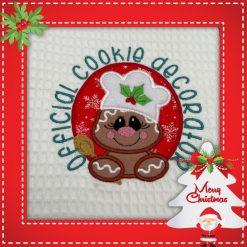 Handmade Christmas gingerbread character tea towel