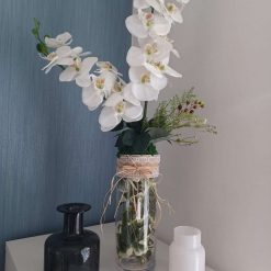 Handmade Tall White Orchid & Ivy Glass Vase