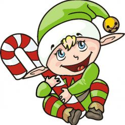 Cheeky Christmas Elf DMC cross-stitch pattern. PDF download