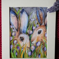 """🐇 Mounted Print """" In the Poppy Seed Field at Night 1"""" 🐰"""