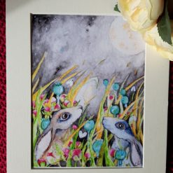 """🐇 Mounted Print """" In the Meadow at night 2"""" 🌾"""