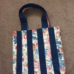 Large Reversible Denim/Floral Shopping Bag- Shoulder / Tote Bag
