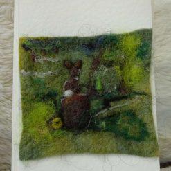 Mini mouse on flower pin cushion needlefelted with ceramic flower pot : free postage uk