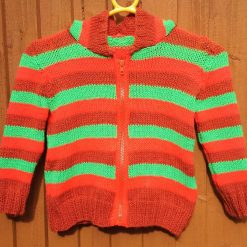 """Two hooded knitted zip up jackets in bright Halloween colours: 26"""" - 28"""" chest"""