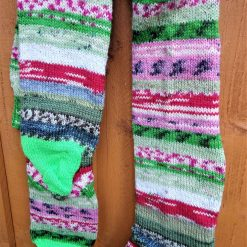 Really big and long multicoloured knitted socks: 9-11 UK shoe size