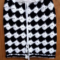 Black and white crocheted skirt with tie waist: 12-14 UK size