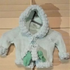 Baby/toddler jacket and bootees in glitter wool and snowballs - mint green