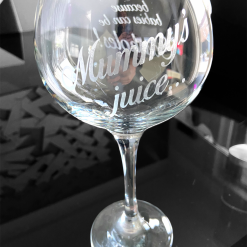 Hand etched gin balloon glass