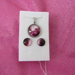 Earring & Pendant set pink & Gold