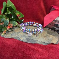 Hematite and Purple Flower Jasper stretch Charm bracelets