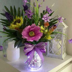 Handmade Silver Crackle Lit Mason Jar with Purple Assorted Flowers