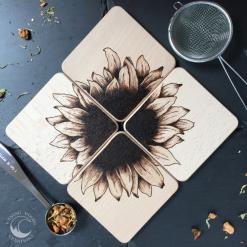 Sunflower, Coaster, Flowers, Solid Wood, Free U.K. Postage