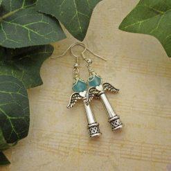 Festive Angel Earrings, Christmas, Blue, Gemstone Earrings, Gift for Her, Stocking Filler