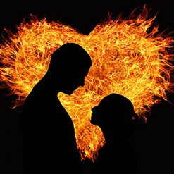 Burning Heart DMC cross-stitch pattern. PDF download