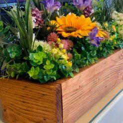 Rustic Wooden Box Planter with Artificial Flower Arrangement