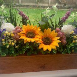 Rustic Wooden Box Planter with Artificial Flower Arrangement (2)