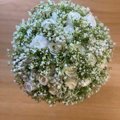 Gypsophila Bridal Bouquet, Large bride bouquet, Ivory Rose and Gypsophila