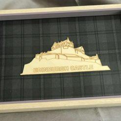 Outline of Edinburgh Castle on a Grey Tartan with a Beech Frame