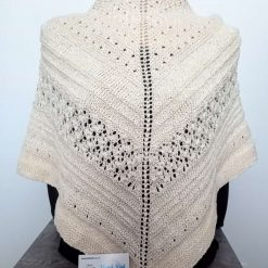 Ladies Hand Knitted Antique Cream Shawl
