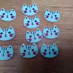 10 pale blue wooden cat buttons 2cm