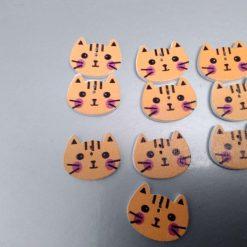 10 orange/ginger wooden cat buttons 2cm