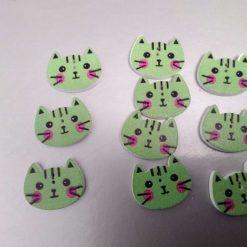 10 green wooden cat buttons 2cm