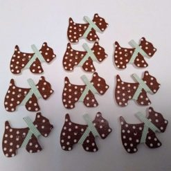 10 brown wooden dog buttons  2cm 54A