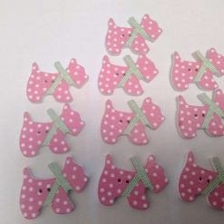 10 pink wooden dog buttons  2cm 57A