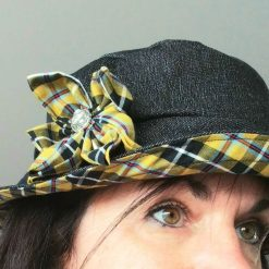 Denim and Cornish Tartan Bucket Hat with Handcrafted Flower from Sand Bags, St Ives by Naomi
