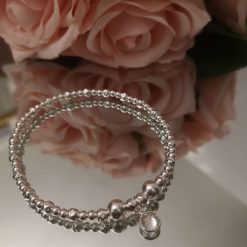 Sterling Silver Stretch Bracelet With Cubic Zirconia Pendant
