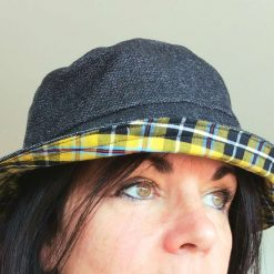 Reversible Dark Denim and Cornish Tartan Bucket Hat from Sand Bags, St Ives by Naomi