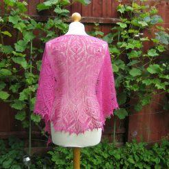 Handmade knitted lace shawl french rose colour silk/alpaca yarn shawl.