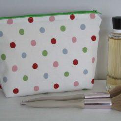 Handmade zip case/makeup bag/cosmetic bag - multi colour polka dots