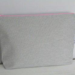 Handmade large zip case/toiletry bag - grey & pink stripe